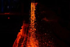 Use for abstract background and texture. Heavy industry metallurgical plant sparks stove metall. Metal on casting. Metallurgy. Use for abstract background and royalty free illustration