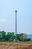 Metal Cellular Antenna Tower in Countryside Scene Royalty Free Stock Photo