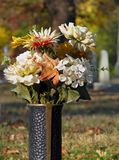 Metal Cemetery Vase Stock Photo