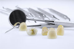 Metal ceramic dentures with dentist tools Stock Image