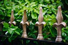 Metal a cerca e cobre, em Mount Vernon, Baltimore, Maryland imagens de stock
