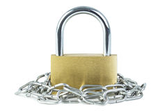 Metal chain around a locked padlock Royalty Free Stock Photo
