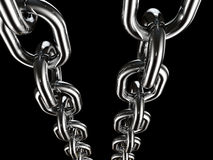 Metal chain on black background Stock Photos