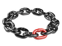 Metal chain circle. leadership concept Stock Photography