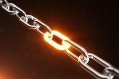 The metal chain is connected with the red-hot link, power concept. 3d illustration. The metal chain is connected with the red-hot link. Power concept. 3d Royalty Free Illustration