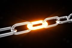 The metal chain is connected with the red-hot link, power concept. 3d illustration. The metal chain is connected with the red-hot link. Power concept. 3d stock illustration