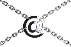Metal Chain with Email symbol Stock Images
