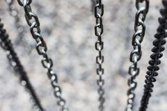 Metal chain fade from top look deep with copy space. For some idea Stock Image