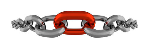 Metal Chain Fisheye Line With Red Element Isolated Stock Photos
