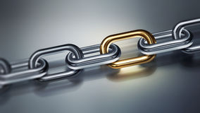 Metal chain with golden element Stock Photo