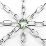 Metal chain with green ring Stock Photos
