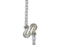 Metal chain and hook isolated on white background. Royalty Free Stock Photography
