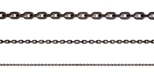 Metal chain isolated. Rusty metal chain isolated on white background with clipping path royalty free stock photo