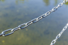 Metal chain limiting access to water Royalty Free Stock Photos