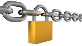 Metal Chain Line With Padlock Isolated. 3d Rendering Stock Images