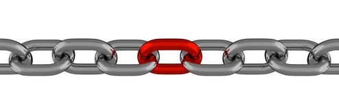 Metal Chain Line With Red Element  Royalty Free Stock Image