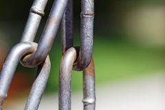 Metal chain links close up. Stock Photo