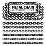 Metal chain links vector pattern brushes set Stock Image