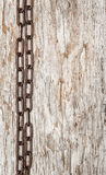 Metal chain on the old wood Royalty Free Stock Images