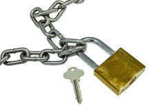 Metal chain and open padlock on white background Royalty Free Stock Image