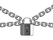 Metal chain and padlock Stock Images