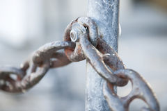 Metal chain railing fragment Stock Images