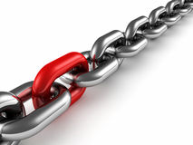 Metal chain with red part link as teamwork concept Stock Images