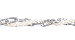 Metal chain and rope. Stock Image