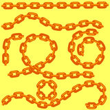 Metal Chain Set Isolated on Yellow Royalty Free Stock Photos
