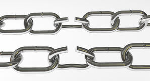 Metal Chain on white. 3D image Royalty Free Stock Photography
