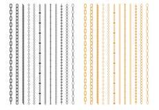 Metal Chainlets com grupo do vetor do elo de corrente da variedade ilustração do vetor
