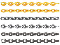 Metal chains. 3d rendered gold, aluminum and dirt metal chains isolated on white stock illustration