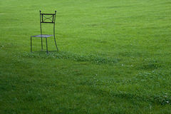 Metal chair in garden Royalty Free Stock Photo
