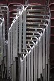Metal chairs. A pile of aluminium chairs. Canon 5D, 100-400L Stock Images