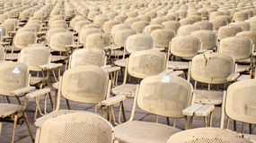 Metal chairs near Sphinx statue for evening show in Cairo, Egypt Royalty Free Stock Image