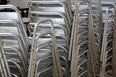 Metal chairs. Silver metal chairs for outdoor terraces Stock Images