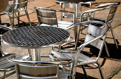 Metal chairs and tables Stock Photos