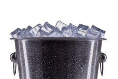 Metal champagne ice bucket with drops isolated on a white background Stock Images