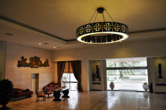 Metal Chandelier with Templars Cross, Hotel Lobby Reception Desk, Religion and History Royalty Free Stock Photography