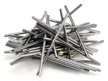 Metal chaos. Metal sticks are randomly fastened together. The design associates with chaos Stock Image