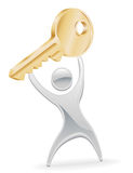 Metal Character Holding Up Key Royalty Free Stock Image