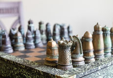 Metal Chess Set Royalty Free Stock Photography