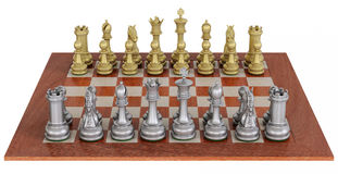 Metal chess set on wooden board. High detailled 3d-render of a  metal chess set on a wooden board isolate over white Royalty Free Stock Image