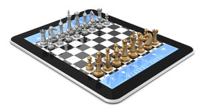 Metal Chess & Tablet Computer. Double player chess game on digitaltablet with Three Dimensional chess pieces Stock Image