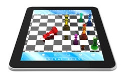Metal Chess & Tablet Computer. Double player chess game on digitaltablet with Three Dimensional chess pieces Stock Photos