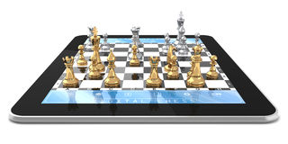 Metal Chess & Tablet Computer Royalty Free Stock Image