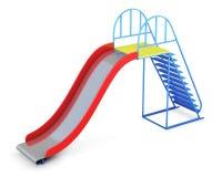 Metal children's slide  on white background. 3d renderin Stock Image