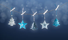 Metal Christmas decorations Stock Photos