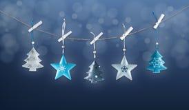 Metal Christmas decorations stock photos
