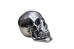 Metal chrome skull. Isolated on white background stock photo
